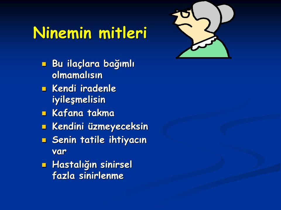 Ninemin mitleri Bu ilaçlara bağımlı olmamalısın Kendi iradenle iyileşmelisin Kafana takma Kendini üzmeyeceksin Senin tatile ihtiyacın var Hastalığın sinirsel fazla sinirlenme