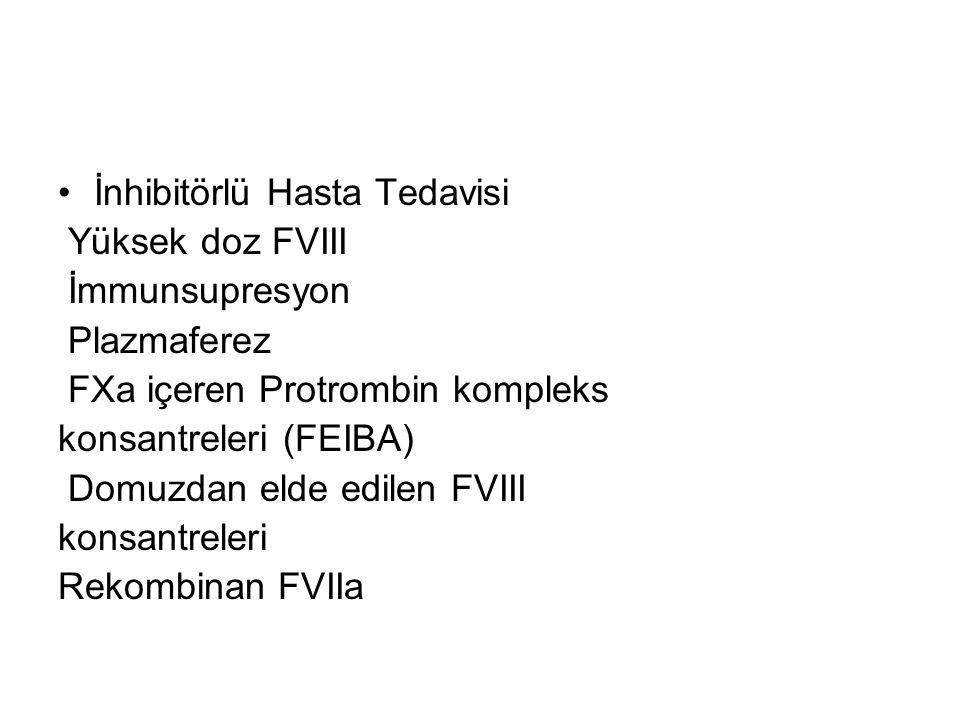 İnhibitörlü Hasta Tedavisi Yüksek doz FVIII İmmunsupresyon Plazmaferez FXa içeren Protrombin kompleks konsantreleri (FEIBA) Domuzdan elde edilen FVIII konsantreleri Rekombinan FVIIa