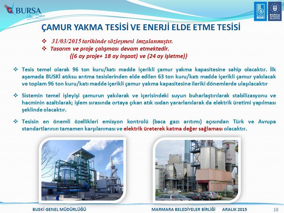  31/03/2015 tarihinde sözleşmesi imzalanmıştır.  Tasarım ve proje çalışması devam etmektedir. {(6 ay proje+ 18 ay inşaat) ve (24 ay işletme)}  Tesi