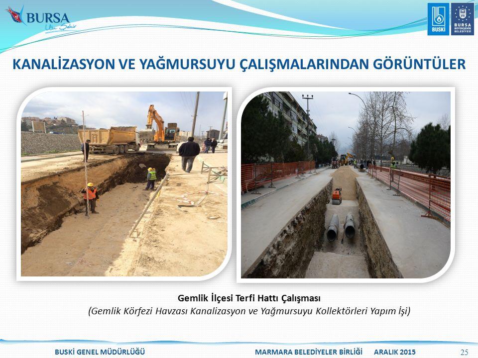 BUSKİ GENEL MÜDÜRLÜĞÜ MARMARA BELEDİYELER BİRLİĞİ ARALIK 2015 Gemlik İlçesi Terfi Hattı Çalışması (Gemlik Körfezi Havzası Kanalizasyon ve Yağmursuyu K