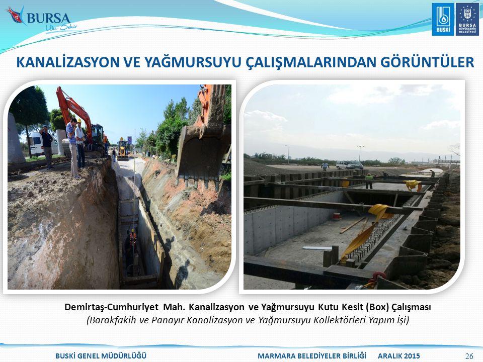Demirtaş-Cumhuriyet Mah. Kanalizasyon ve Yağmursuyu Kutu Kesit (Box) Çalışması (Barakfakih ve Panayır Kanalizasyon ve Yağmursuyu Kollektörleri Yapım İ