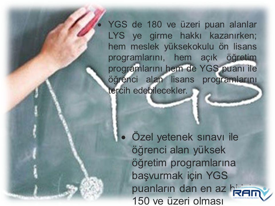  Özel yetenek sınavı ile öğrenci alan yüksek öğretim programlarına başvurmak için YGS puanların dan en az birinin 150 ve üzeri olması gerekmektedir.