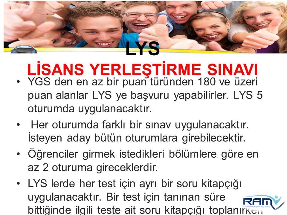 LYS LİSANS YERLEŞTİRME SINAVI YGS den en az bir puan türünden 180 ve üzeri puan alanlar LYS ye başvuru yapabilirler. LYS 5 oturumda uygulanacaktır. He