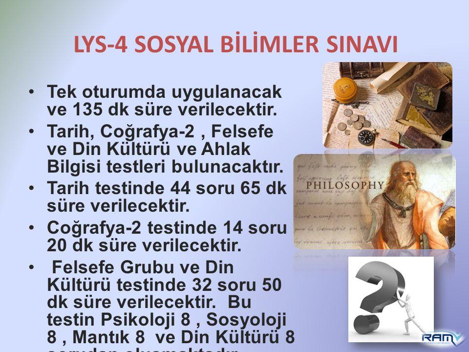 LYS-4 SOSYAL BİLİMLER SINAVI Tek oturumda uygulanacak ve 135 dk süre verilecektir. Tarih, Coğrafya-2, Felsefe ve Din Kültürü ve Ahlak Bilgisi testleri