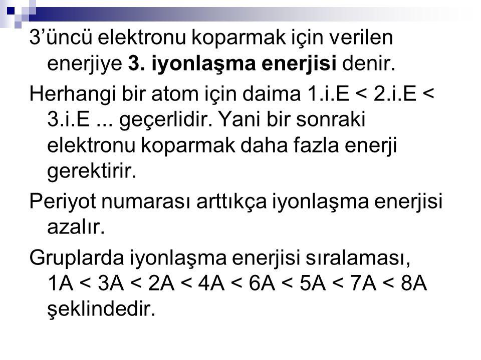 3'üncü elektronu koparmak için verilen enerjiye 3. iyonlaşma enerjisi denir. Herhangi bir atom için daima 1.i.E < 2.i.E < 3.i.E... geçerlidir. Yani bi