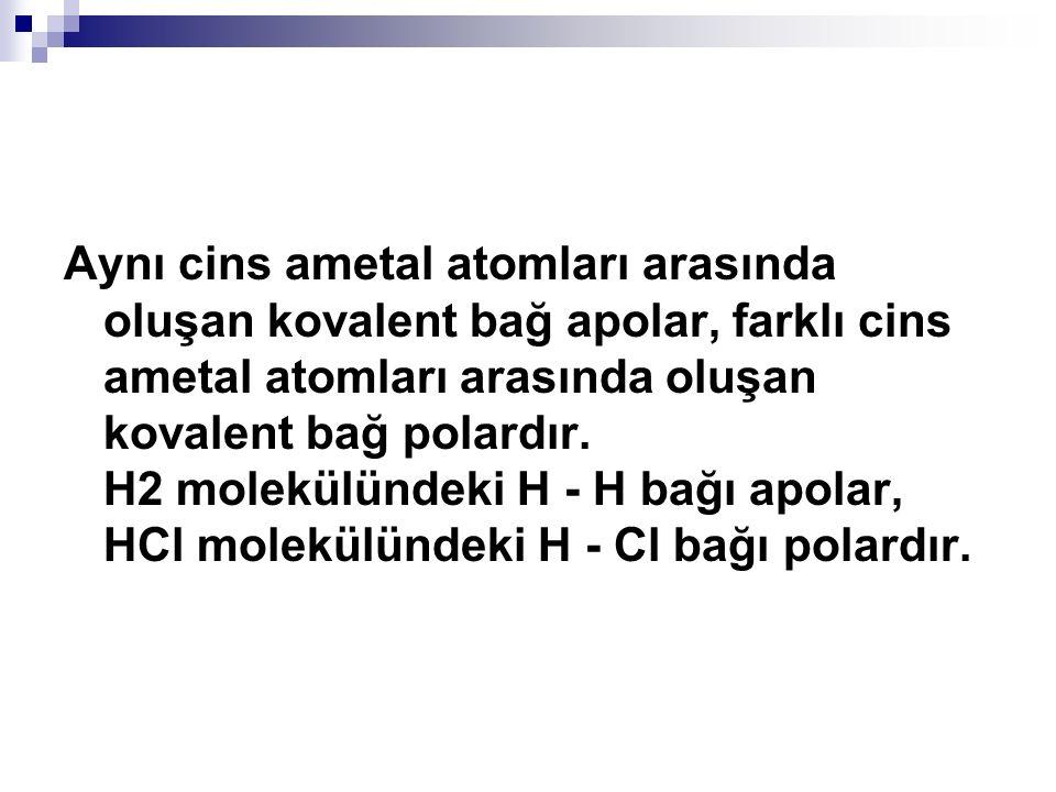 Aynı cins ametal atomları arasında oluşan kovalent bağ apolar, farklı cins ametal atomları arasında oluşan kovalent bağ polardır. H2 molekülündeki H -