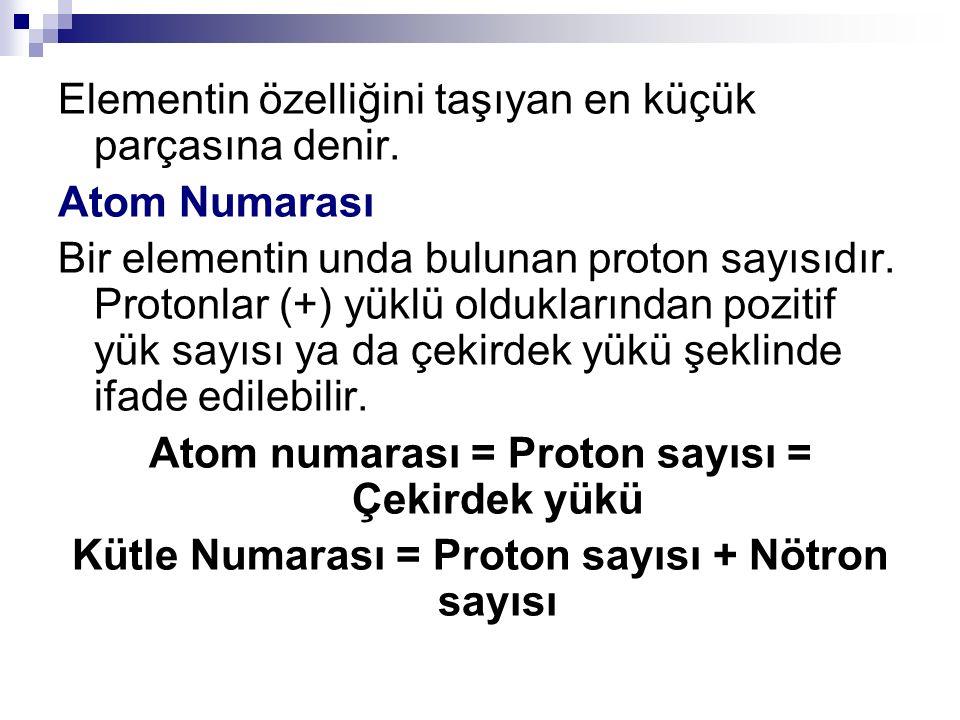 Elementin özelliğini taşıyan en küçük parçasına denir. Atom Numarası Bir elementin unda bulunan proton sayısıdır. Protonlar (+) yüklü olduklarından po