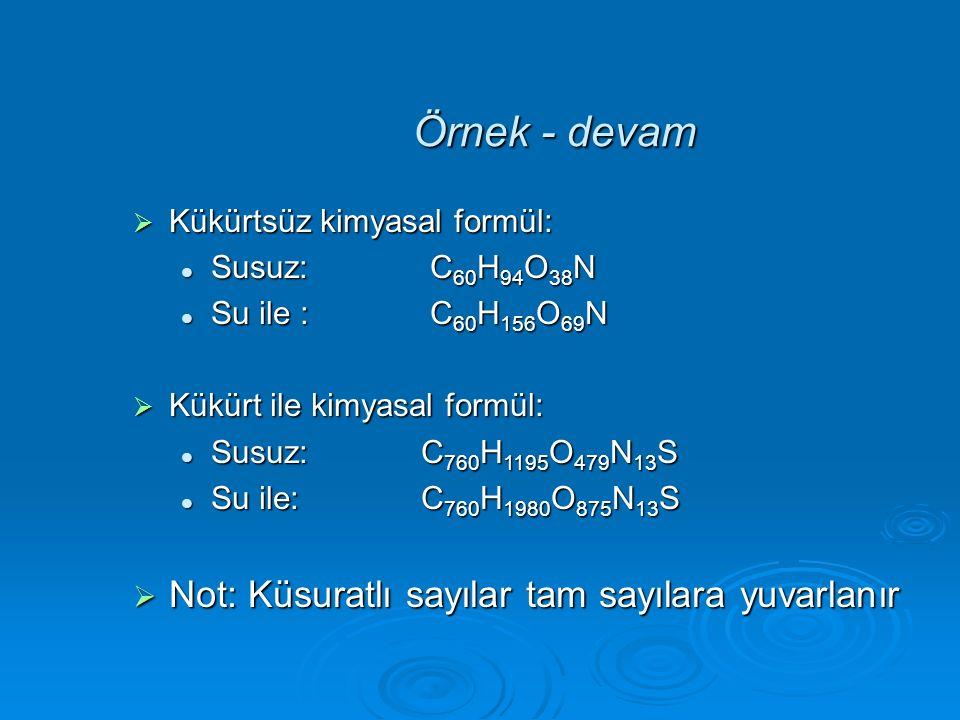  Kükürtsüz kimyasal formül: Susuz: C 60 H 94 O 38 N Susuz: C 60 H 94 O 38 N Su ile : C 60 H 156 O 69 N Su ile : C 60 H 156 O 69 N  Kükürt ile kimyas