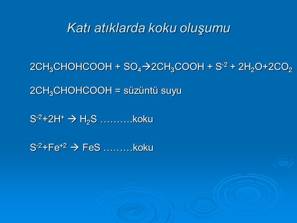2CH 3 CHOHCOOH + SO 4  2CH 3 COOH + S -2 + 2H 2 O+2CO 2 2CH 3 CHOHCOOH = süzüntü suyu S -2 +2H +  H 2 S ……….koku S -2 +Fe +2  FeS ………koku Katı atık