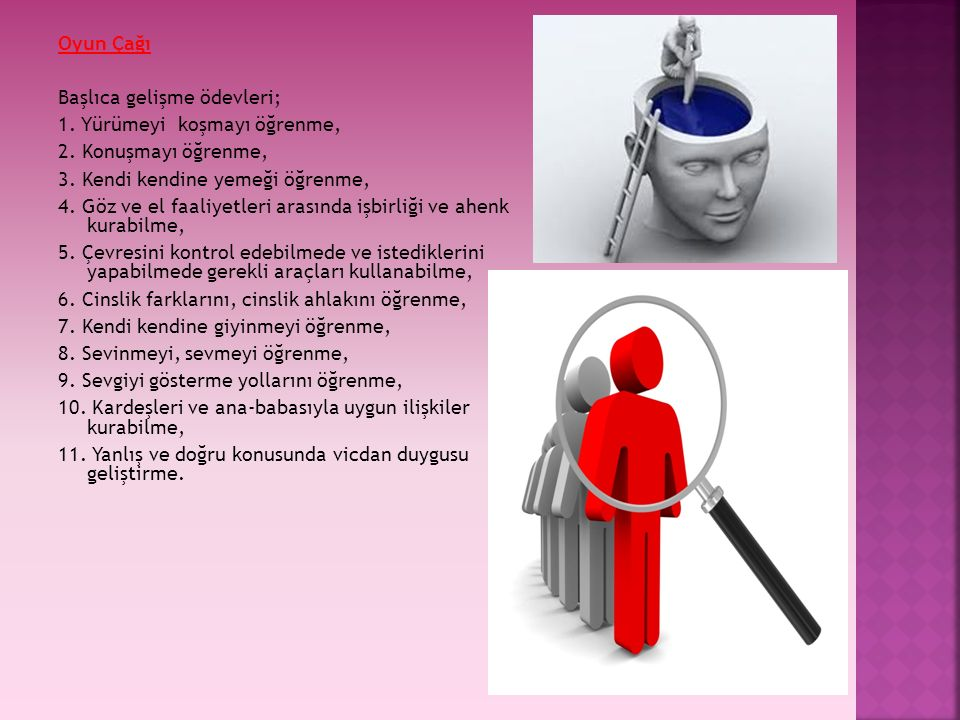Oyun Çağı Başlıca gelişme ödevleri; 1. Yürümeyi koşmayı öğrenme, 2. Konuşmayı öğrenme, 3. Kendi kendine yemeği öğrenme, 4. Göz ve el faaliyetleri aras