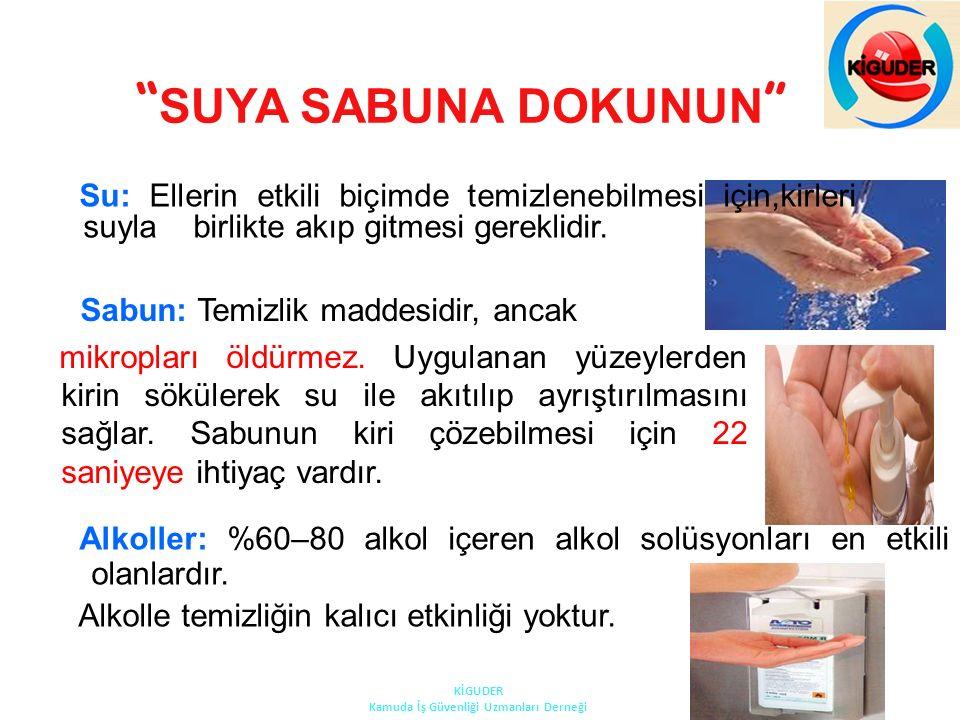 """"""" SUYA SABUNA DOKUNUN """" Su: Ellerin etkili biçimde temizlenebilmesi için,kirleri suyla birlikte akıp gitmesi gereklidir. Sabun: Temizlik maddesidir, a"""