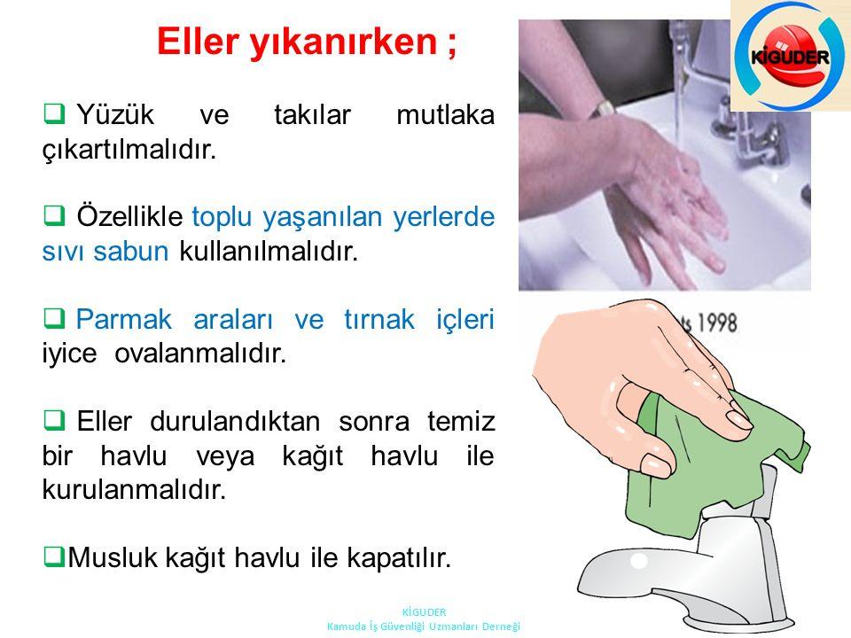 Eller yıkanırken ;  Yüzük ve takılar mutlaka çıkartılmalıdır.  Özellikle toplu yaşanılan yerlerde sıvı sabun kullanılmalıdır.  Parmak araları ve tı