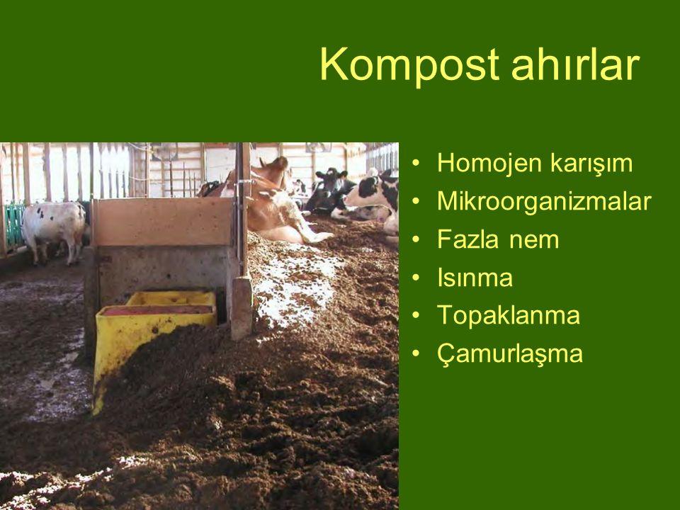 Kompost ahırlar Homojen karışım Mikroorganizmalar Fazla nem Isınma Topaklanma Çamurlaşma