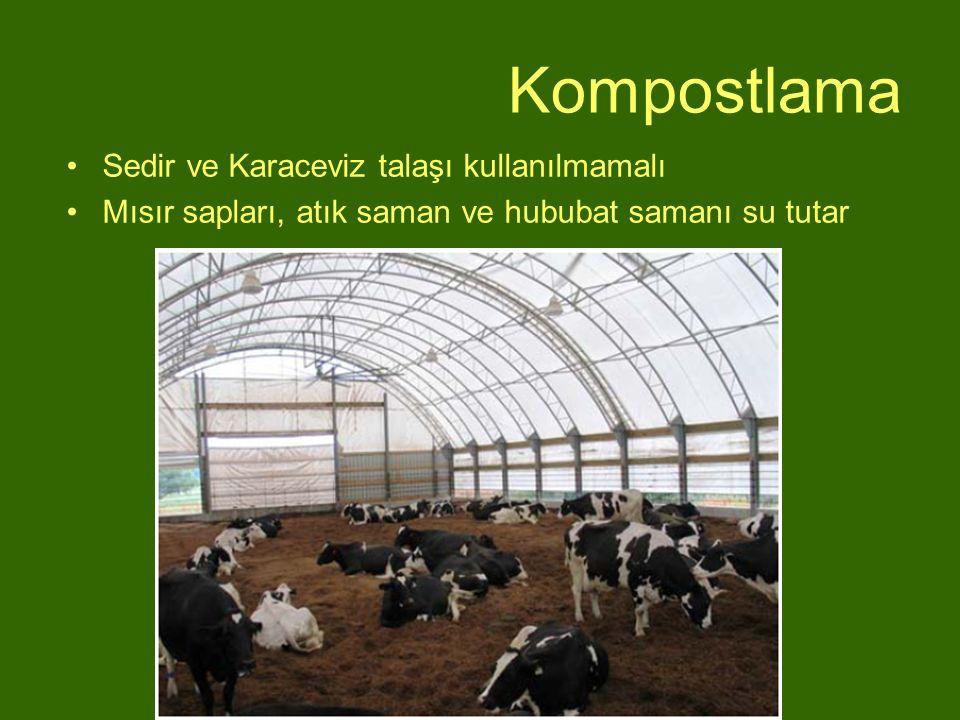 Kompostlama Sedir ve Karaceviz talaşı kullanılmamalı Mısır sapları, atık saman ve hububat samanı su tutar