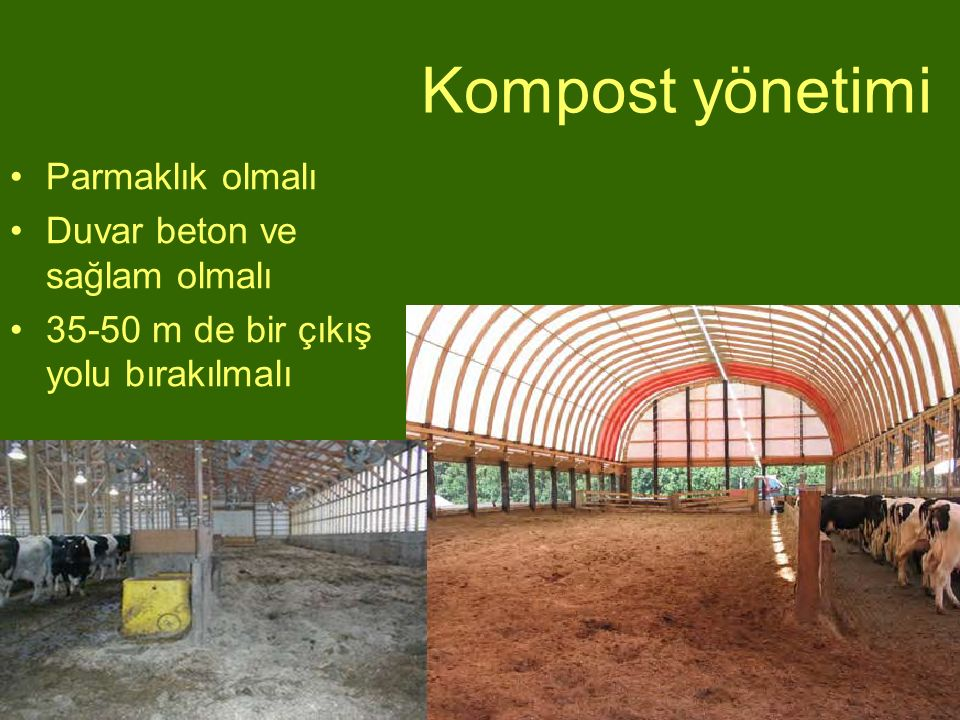 Parmaklık olmalı Duvar beton ve sağlam olmalı 35-50 m de bir çıkış yolu bırakılmalı Kompost yönetimi