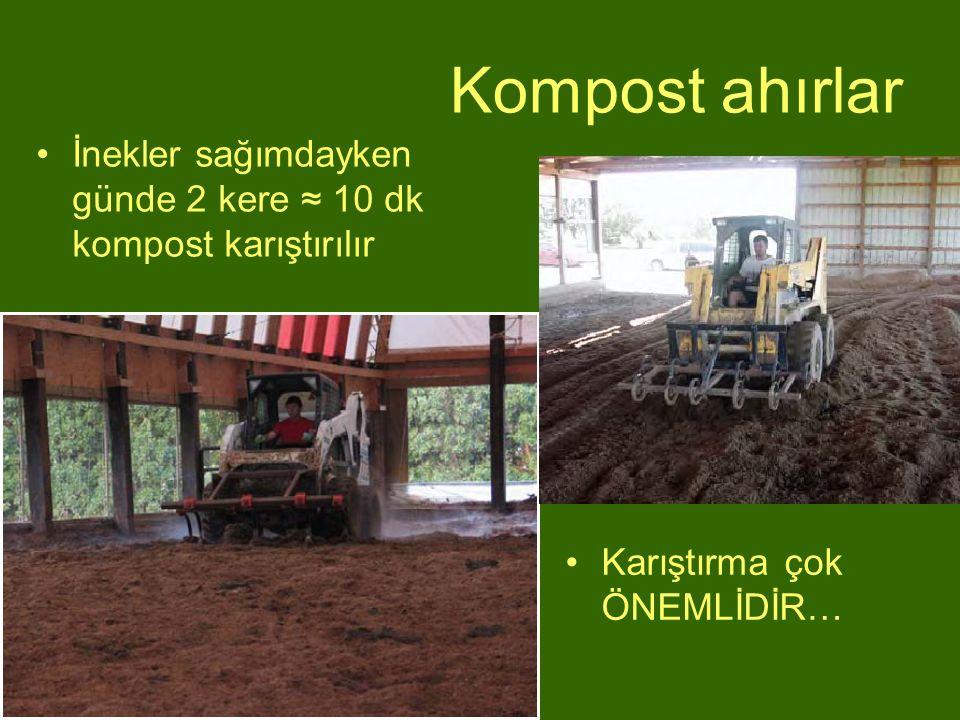 Kompost ahırlar İnekler sağımdayken günde 2 kere ≈ 10 dk kompost karıştırılır Karıştırma çok ÖNEMLİDİR…