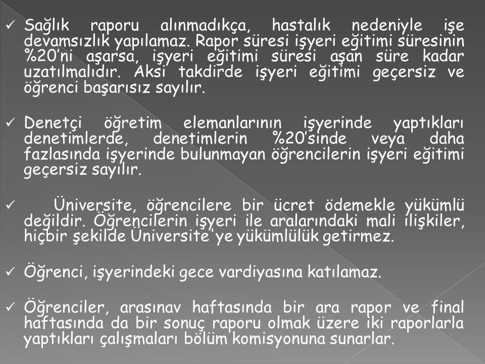 2015-2016 İŞYERİ EĞİTİMİ TAKVİMİ (2014-2015) Bahar Yarılının 1.-6.