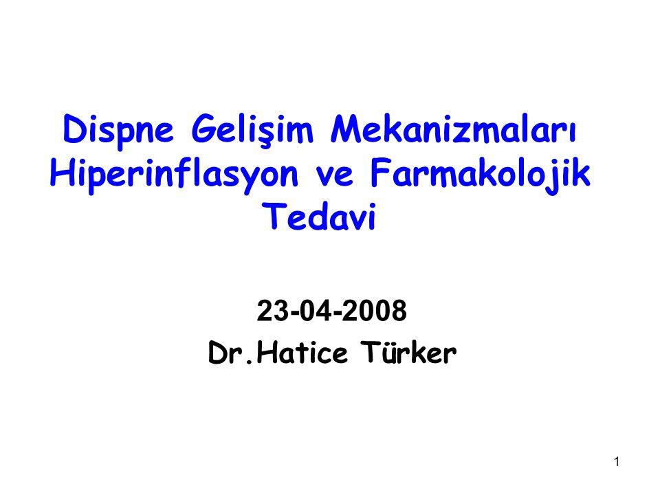 1 Dispne Gelişim Mekanizmaları Hiperinflasyon ve Farmakolojik Tedavi 23-04-2008 Dr.Hatice Türker