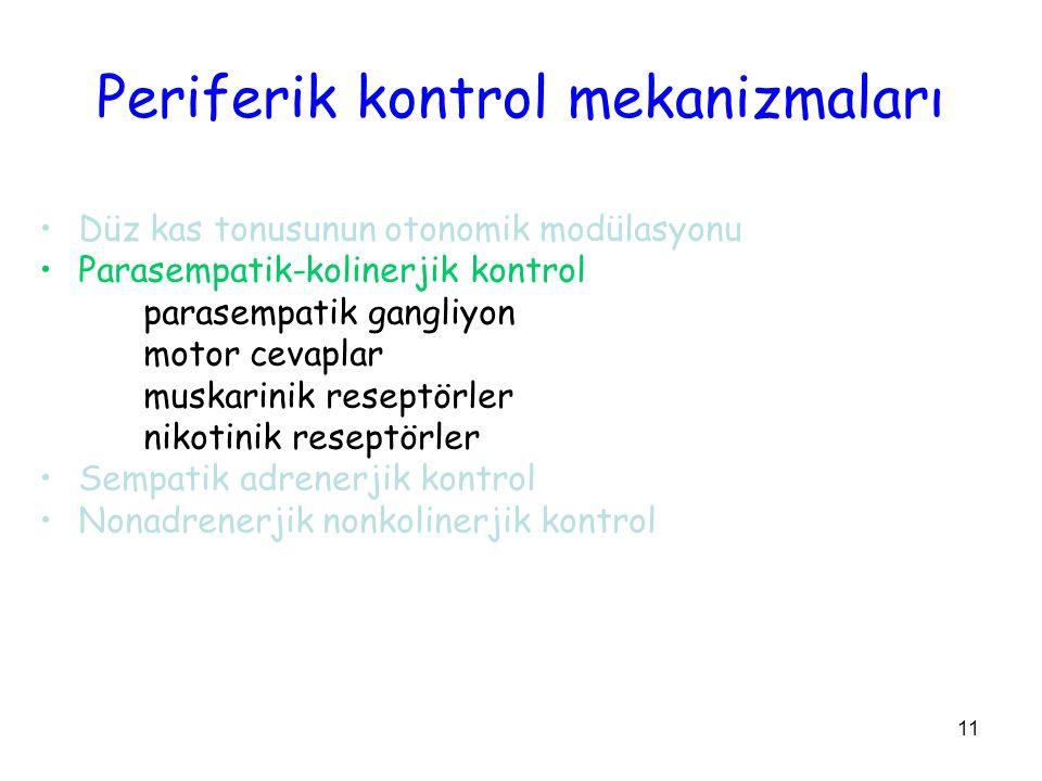 11 Periferik kontrol mekanizmaları Düz kas tonusunun otonomik modülasyonu Parasempatik-kolinerjik kontrol parasempatik gangliyon motor cevaplar muskarinik reseptörler nikotinik reseptörler Sempatik adrenerjik kontrol Nonadrenerjik nonkolinerjik kontrol