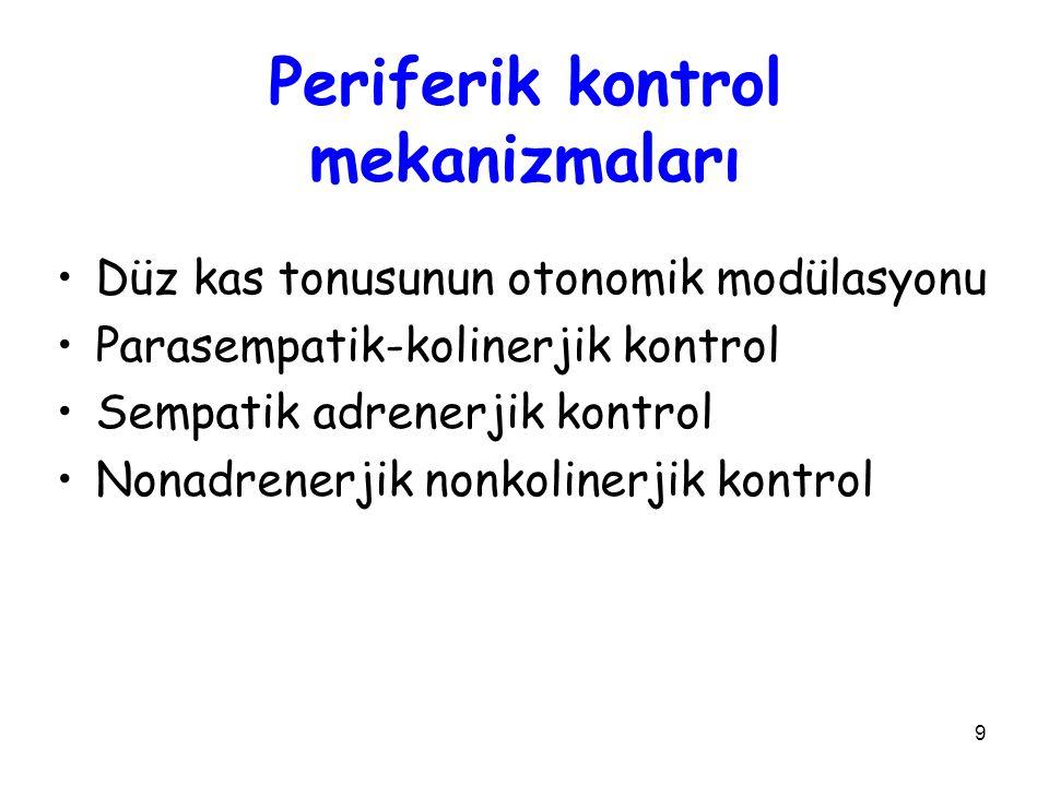 9 Periferik kontrol mekanizmaları Düz kas tonusunun otonomik modülasyonu Parasempatik-kolinerjik kontrol Sempatik adrenerjik kontrol Nonadrenerjik nonkolinerjik kontrol