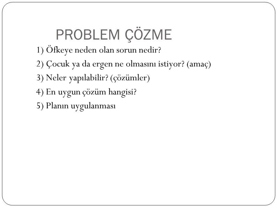 PROBLEM ÇÖZME 1) Öfkeye neden olan sorun nedir? 2) Çocuk ya da ergen ne olmasını istiyor? (amaç) 3) Neler yapılabilir? (çözümler) 4) En uygun çözüm ha