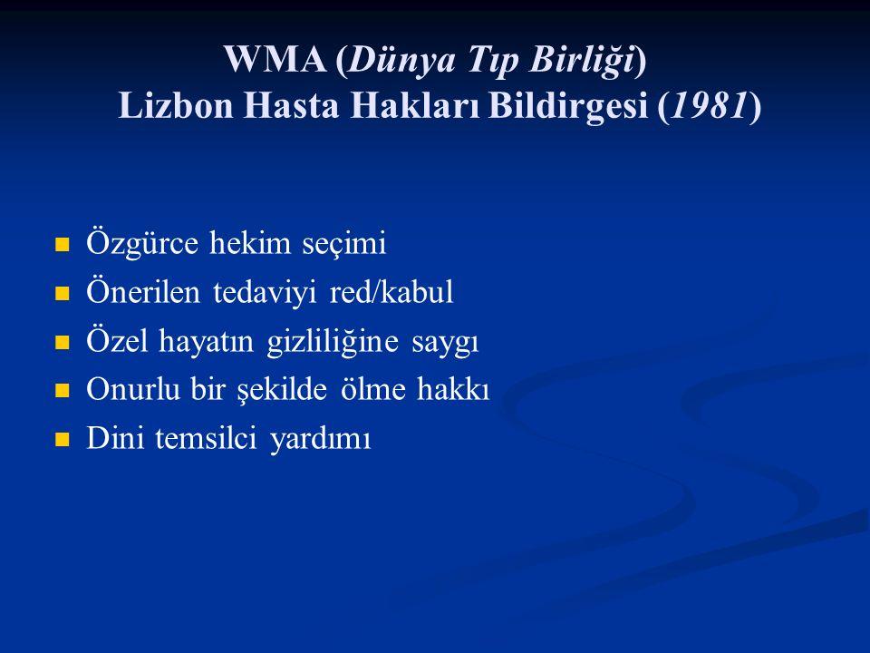 WMA (Dünya Tıp Birliği) Lizbon Hasta Hakları Bildirgesi (1981) Özgürce hekim seçimi Önerilen tedaviyi red/kabul Özel hayatın gizliliğine saygı Onurlu