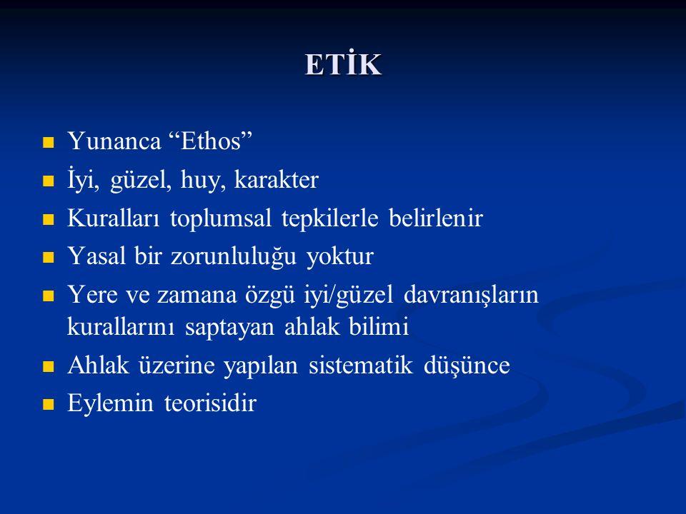 """ETİK Yunanca """"Ethos"""" İyi, güzel, huy, karakter Kuralları toplumsal tepkilerle belirlenir Yasal bir zorunluluğu yoktur Yere ve zamana özgü iyi/güzel da"""