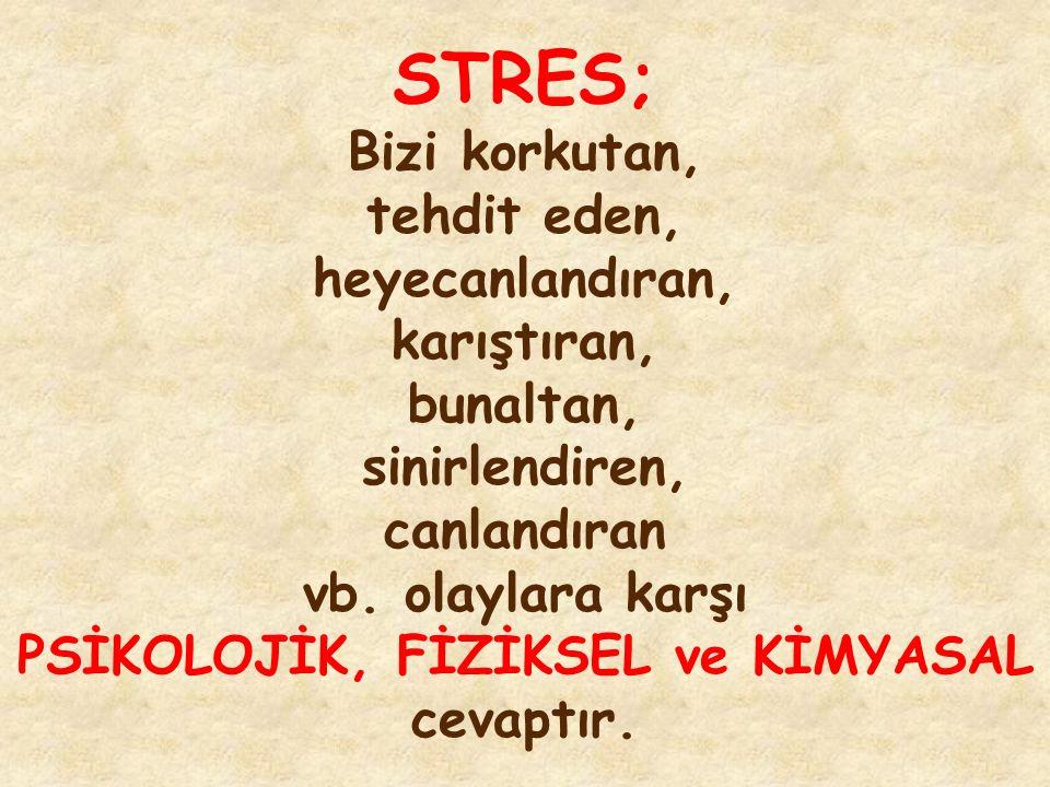 STRES; Bizi korkutan, tehdit eden, heyecanlandıran, karıştıran, bunaltan, sinirlendiren, canlandıran vb. olaylara karşı PSİKOLOJİK, FİZİKSEL ve KİMYAS