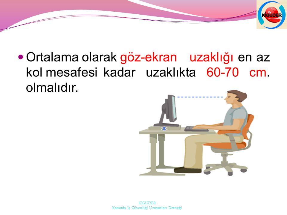Ortalama olarak göz-ekran uzaklığı en az kol mesafesi kadar uzaklıkta 60-70 cm.