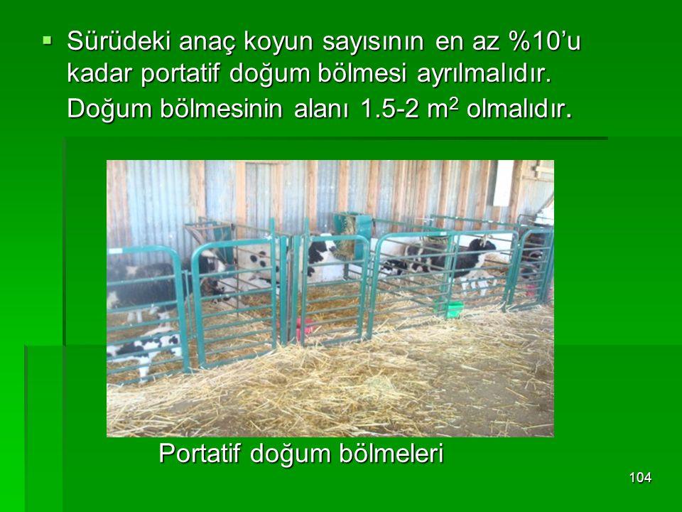 Sürüdeki anaç koyun sayısının en az %10'u kadar portatif doğum bölmesi ayrılmalıdır. Doğum bölmesinin alanı 1.5-2 m 2 olmalıdır. Portatif doğum bölm