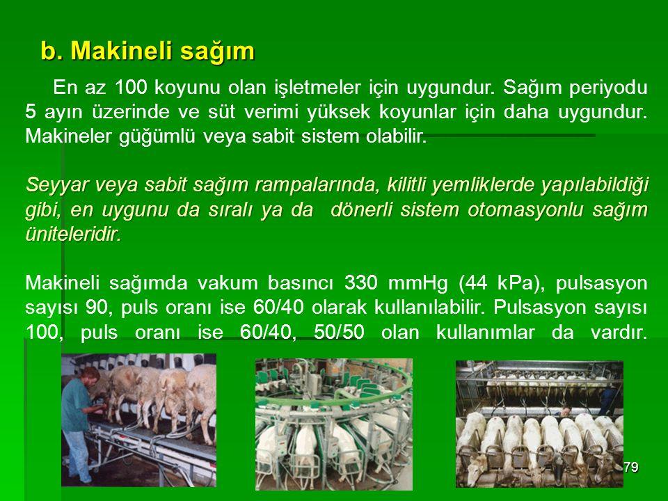 b. Makineli sağım 79 En az 100 koyunu olan işletmeler için uygundur. Sağım periyodu 5 ayın üzerinde ve süt verimi yüksek koyunlar için daha uygundur.