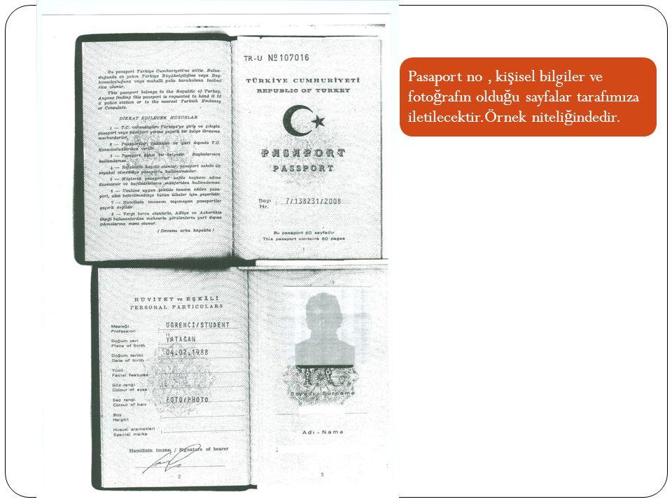 Pasaport no, ki ş isel bilgiler ve foto ğ rafın oldu ğ u sayfalar tarafımıza iletilecektir.Örnek niteli ğ indedir.