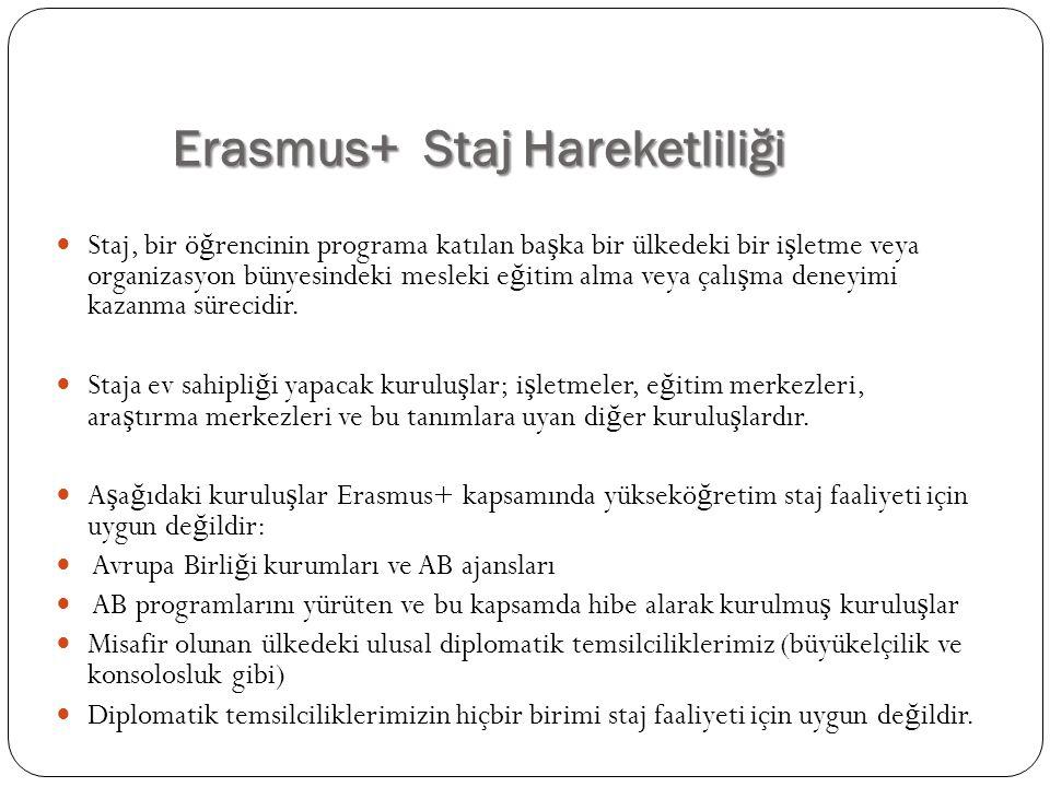 Erasmus+ Staj Hareketliliği Staj, bir ö ğ rencinin programa katılan ba ş ka bir ülkedeki bir i ş letme veya organizasyon bünyesindeki mesleki e ğ itim