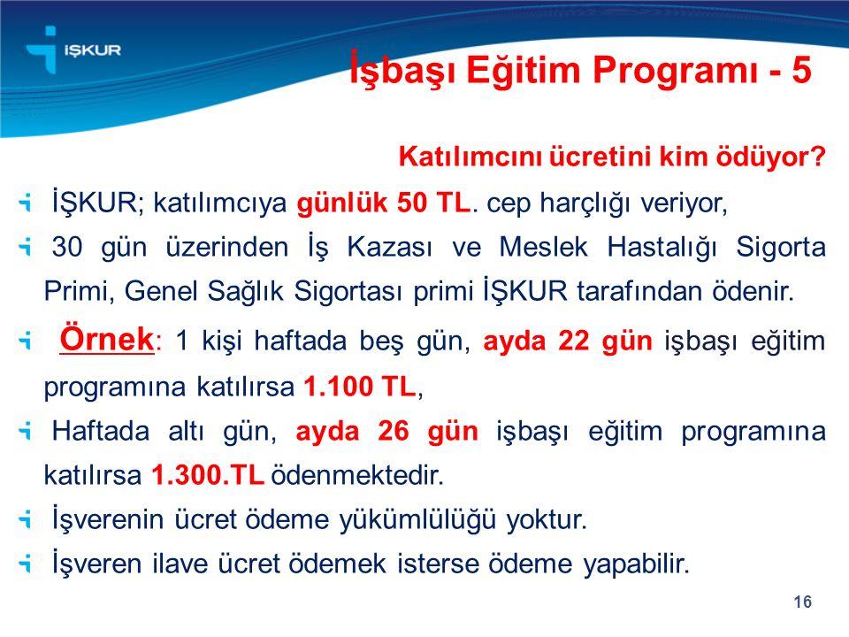 16 Katılımcını ücretini kim ödüyor. İŞKUR; katılımcıya günlük 50 TL.