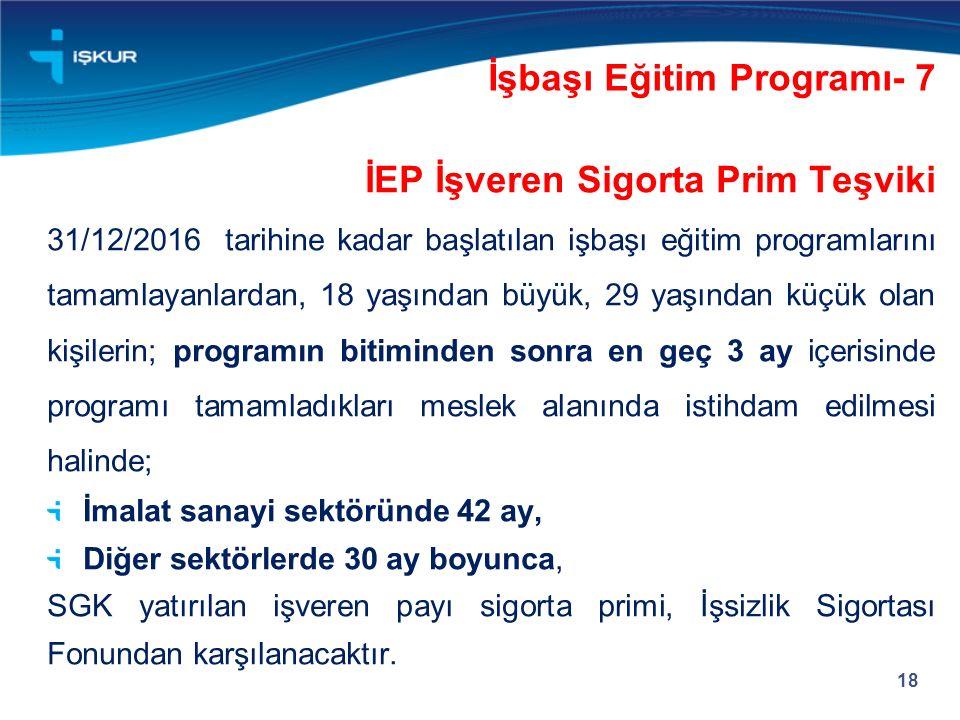 İEP İşveren Sigorta Prim Teşviki 31/12/2016 tarihine kadar başlatılan işbaşı eğitim programlarını tamamlayanlardan, 18 yaşından büyük, 29 yaşından küçük olan kişilerin; programın bitiminden sonra en geç 3 ay içerisinde programı tamamladıkları meslek alanında istihdam edilmesi halinde; İmalat sanayi sektöründe 42 ay, Diğer sektörlerde 30 ay boyunca, SGK yatırılan işveren payı sigorta primi, İşsizlik Sigortası Fonundan karşılanacaktır.