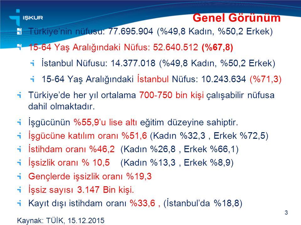 Türkiye'nin nüfusu: 77.695.904 (%49,8 Kadın, %50,2 Erkek) 15-64 Yaş Aralığındaki Nüfus: 52.640.512 (%67,8) İstanbul Nüfusu: 14.377.018 (%49,8 Kadın, %50,2 Erkek) 15-64 Yaş Aralığındaki İstanbul Nüfus: 10.243.634 (%71,3) Türkiye'de her yıl ortalama 700-750 bin kişi çalışabilir nüfusa dahil olmaktadır.
