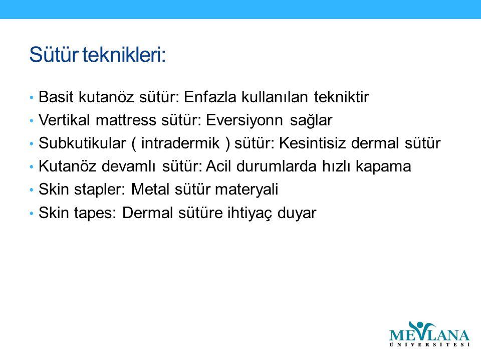 Sütür teknikleri: Basit kutanöz sütür: Enfazla kullanılan tekniktir Vertikal mattress sütür: Eversiyonn sağlar Subkutikular ( intradermik ) sütür: Kesintisiz dermal sütür Kutanöz devamlı sütür: Acil durumlarda hızlı kapama Skin stapler: Metal sütür materyali Skin tapes: Dermal sütüre ihtiyaç duyar