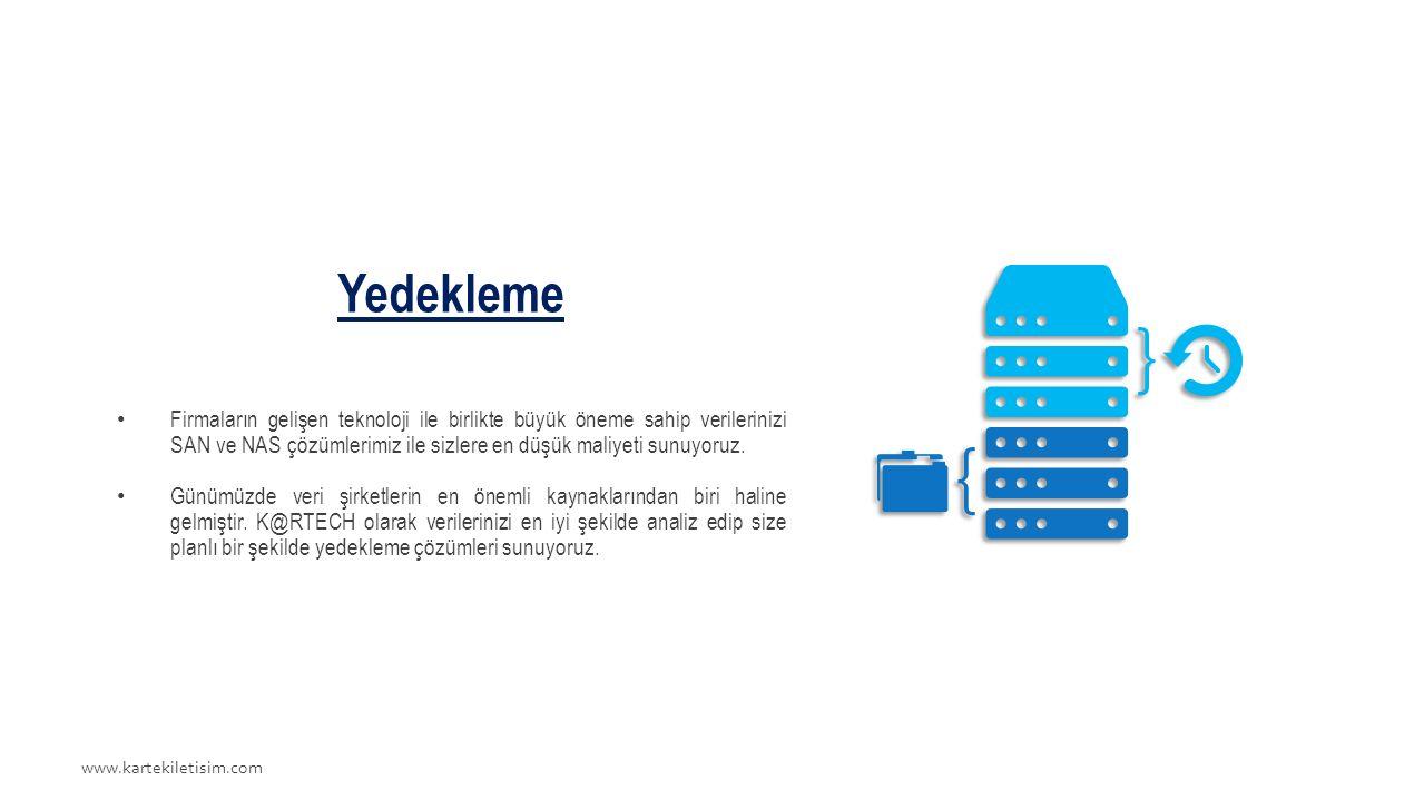 www.kartekiletisim.com Yedekleme Firmaların gelişen teknoloji ile birlikte büyük öneme sahip verilerinizi SAN ve NAS çözümlerimiz ile sizlere en düşük maliyeti sunuyoruz.