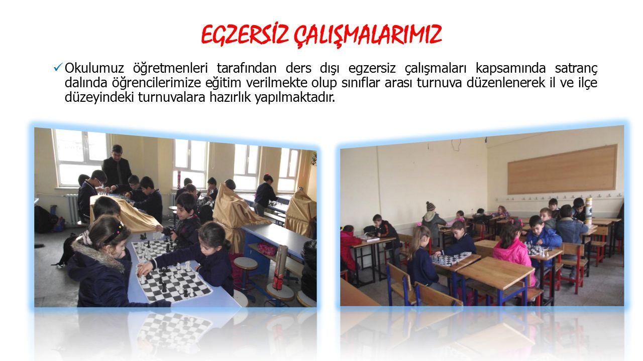 Okulumuz öğretmenleri tarafından ders dışı egzersiz çalışmaları kapsamında satranç dalında öğrencilerimize eğitim verilmekte olup sınıflar arası turnu