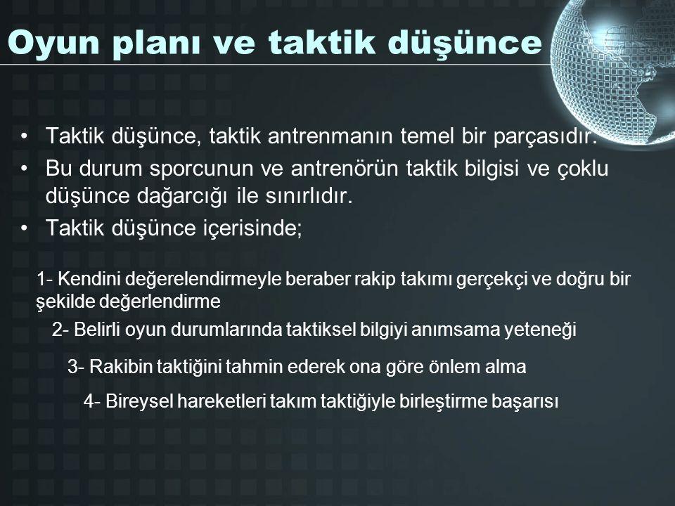 Oyun planı ve taktik düşünce Taktik düşünce, taktik antrenmanın temel bir parçasıdır.