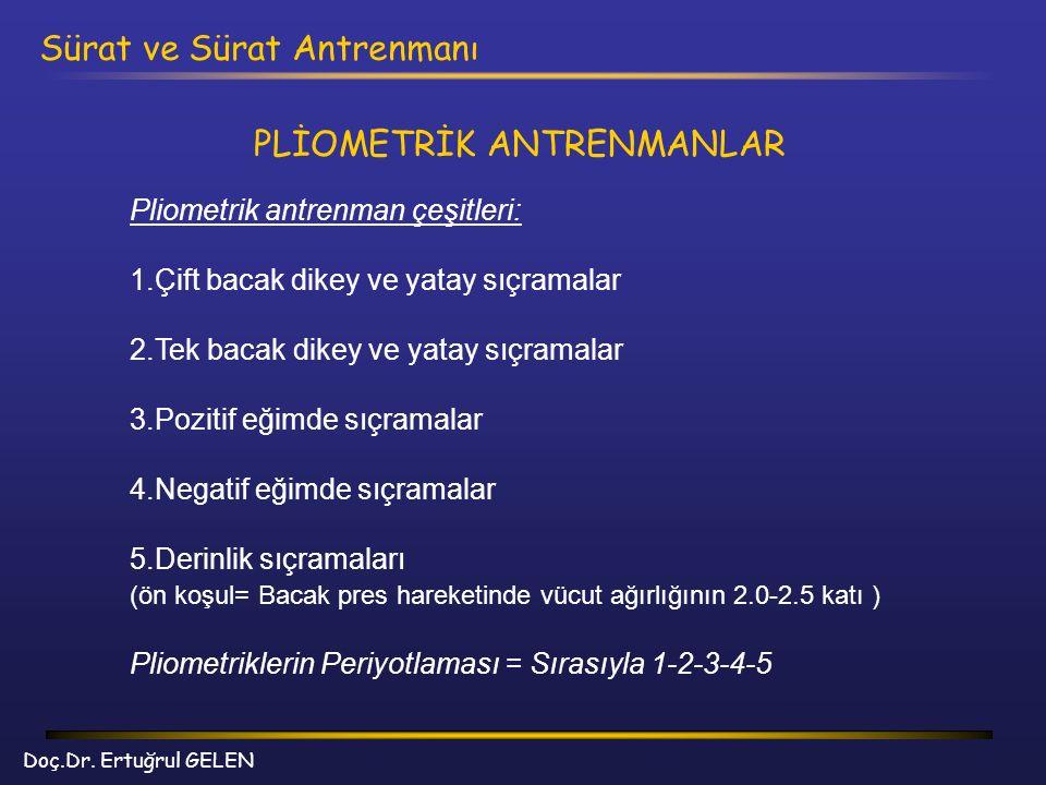 Doç.Dr. Ertuğrul GELEN Sürat ve Sürat Antrenmanı PLİOMETRİK ANTRENMANLAR Pliometrik antrenman çeşitleri: 1.Çift bacak dikey ve yatay sıçramalar 2.Tek