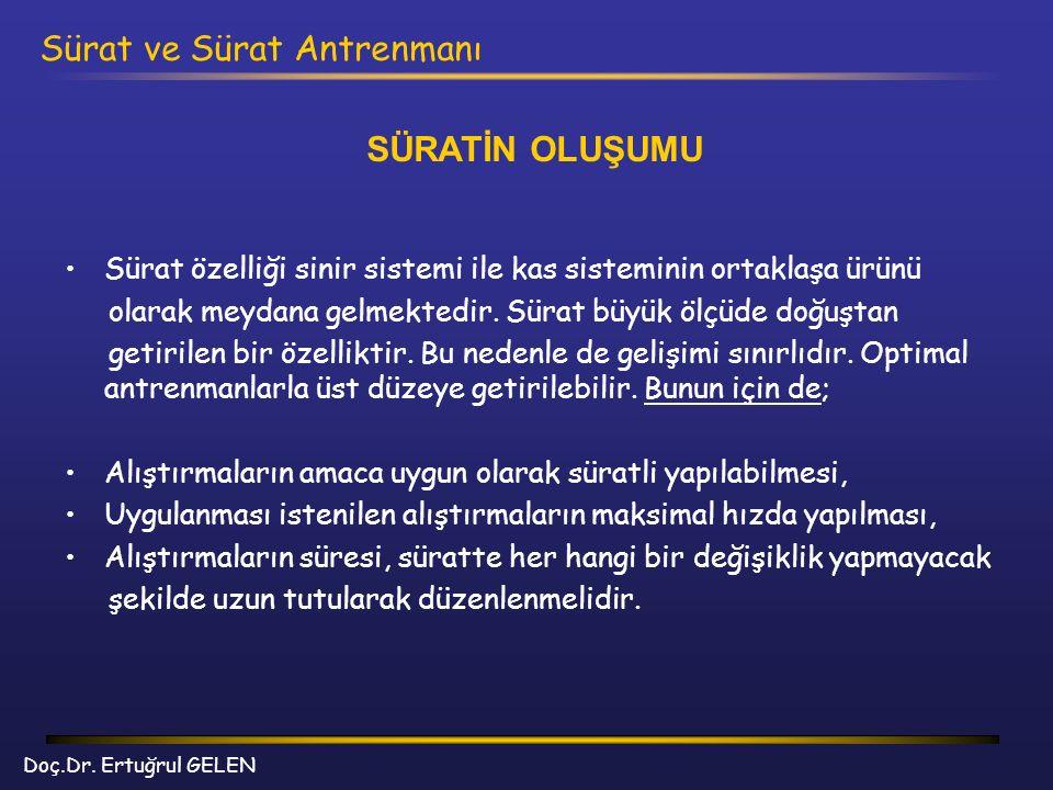 Doç.Dr. Ertuğrul GELEN Sürat ve Sürat Antrenmanı SÜRATİN OLUŞUMU Sürat özelliği sinir sistemi ile kas sisteminin ortaklaşa ürünü olarak meydana gelmek