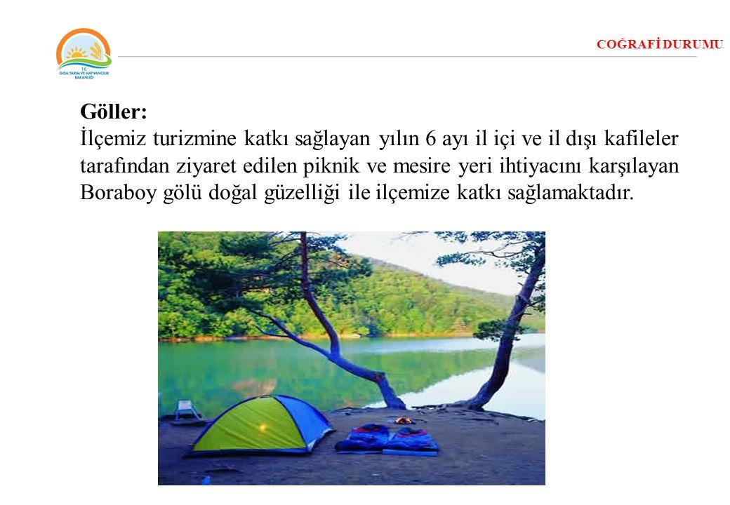 COĞRAFİ DURUMU Göller: İlçemiz turizmine katkı sağlayan yılın 6 ayı il içi ve il dışı kafileler tarafından ziyaret edilen piknik ve mesire yeri ihtiya