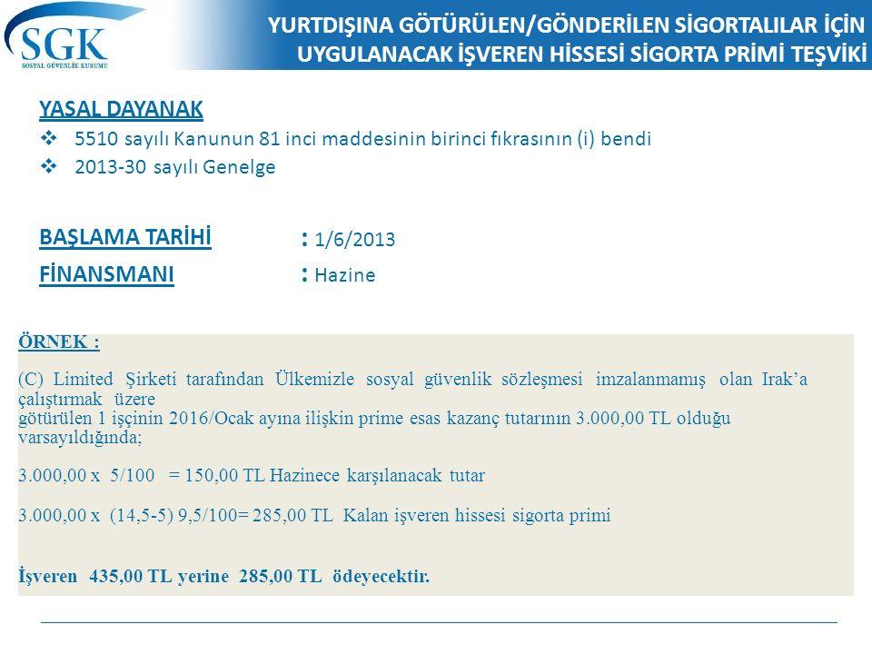 KAPSAM KAPSAMDA OLANLAR Özel sektör işyeri işverenlerince; 5510 sayılı Kanunun 5 inci maddesinin birinci fıkrasının (g) bendi kapsamında sosyal güvenlik sözleşmesi imzalanmamış ülkelere götürülen Türk işçilerinden,  Sosyal güvenlik sözleşmesi imzalanmamış ülkeler ile sosyal güvenlik sözleşmesi imzalanmış ülkelere 5510 sayılı Kanunun 10 uncu maddesi kapsamında geçici görevle gönderilen sigortalıların Türkiye'deki sigortalılık statüsüne göre ödenecek sigorta primlerinde sigorta kolları bakımından genel sağlık sigortası primlerinin bulunması halinde, bahse konu işçilerden,  Almanya ile yapılan İstisna Akdi sözleşmesi çerçevesinde Almanya'ya çalıştırılmak üzere götürülen Türk işçilerinden, dolayı, genel sağlık sigortası primlerinde beş puanlık prim indiriminden yararlanılacaktır.