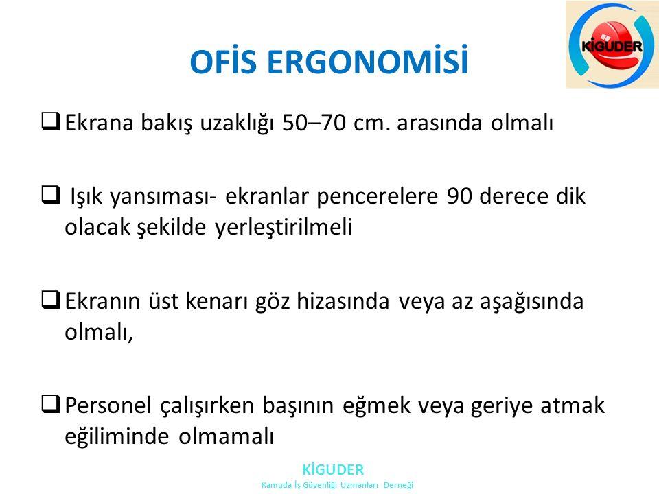 OFİS ERGONOMİSİ  Ekrana bakış uzaklığı 50–70 cm.