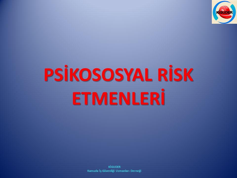 PSİKOSOSYAL RİSK ETMENLERİ KİGUDER Kamuda İş Güvenliği Uzmanları Derneği