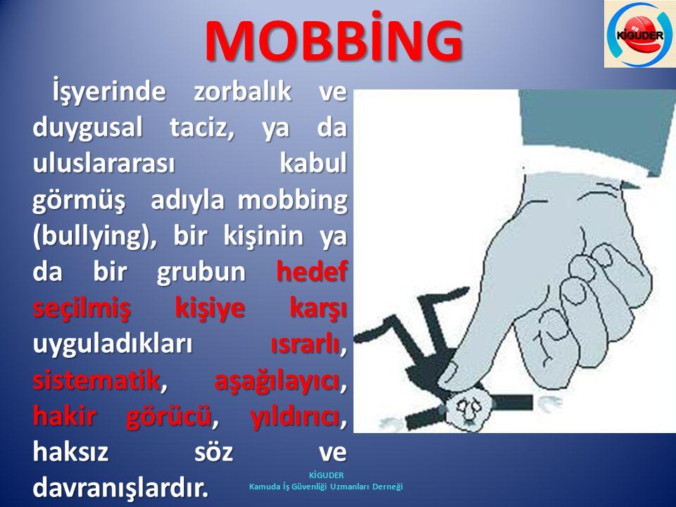 MOBBİNG İşyerinde zorbalık ve duygusal taciz, ya da uluslararası kabul görmüş adıyla mobbing (bullying), bir kişinin ya da bir grubun hedef seçilmiş k
