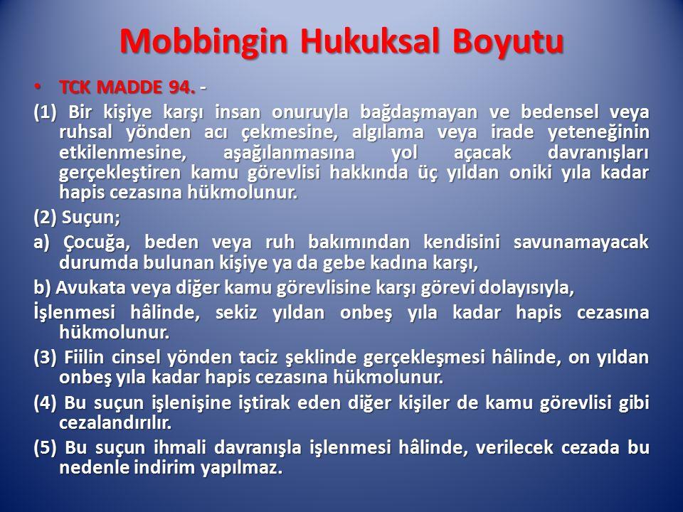 Mobbingin Hukuksal Boyutu TCK MADDE 94. - TCK MADDE 94. - (1) Bir kişiye karşı insan onuruyla bağdaşmayan ve bedensel veya ruhsal yönden acı çekmesine
