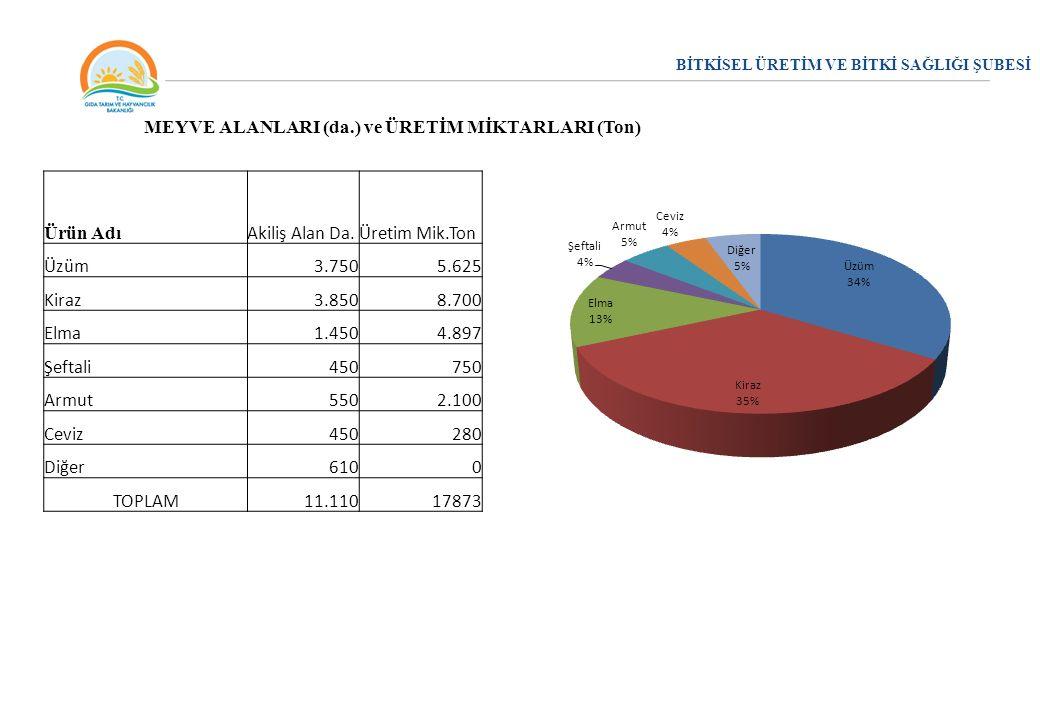BİTKİSEL ÜRETİM VE BİTKİ SAĞLIĞI ŞUBESİ MEYVE ALANLARI (da.) ve ÜRETİM MİKTARLARI (Ton) Ürün Adı Akiliş Alan Da.Üretim Mik.Ton Üzüm3.7505.625 Kiraz3.8
