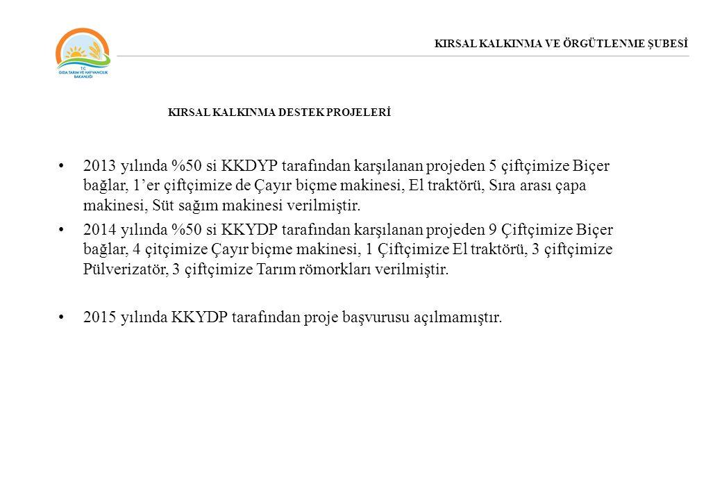 2013 yılında %50 si KKDYP tarafından karşılanan projeden 5 çiftçimize Biçer bağlar, 1'er çiftçimize de Çayır biçme makinesi, El traktörü, Sıra arası ç